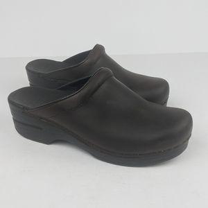 DANSKO Brown Leather Clogs sz 38